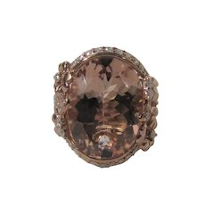 14 Karat Rose Gold Morganite With Diamond Ring