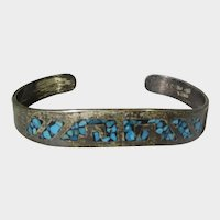 Sterling Silver Mexican Bracelet With Turquoise Inlays