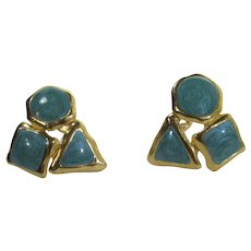 Trifari Clip On Earrings in Goldtone and Faux Turquoise