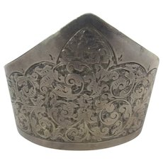 Sterling Silver Engraved Cuff by Vaughton and Sons