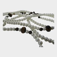 Necklace of Glass Faux Pearl and Tiger's Eye Accent Stations
