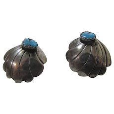Sterling Silver Turquoise For Pierced Earrings in Shell Form