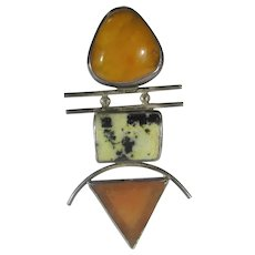 Native American Navajo Artist J Gates Sterling Silver Pin/Pendant In Amber, Agate and Glass