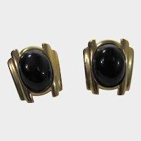 Crown Trifari Goldtone and Black Clip On Earrings