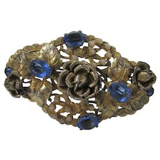 Vintage Signed Czechoslovakia Goldtone Filagree Pin With Cornflower Blue Crystals