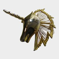 Goldtone Unusual Unicorn Head Pin