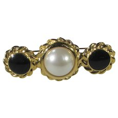 Anne Klein Goldtone Pin With Faux Pearl and Faux Onyx Accents