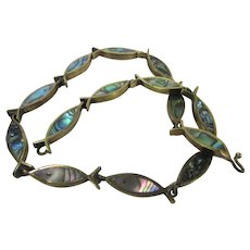 Sterling Silver Taxco Fish with Inlaid Abalone Necklace