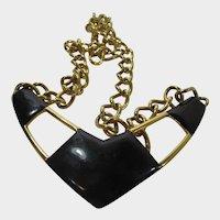 Vintage Signed  Monet Statement Necklace in Black and Goldtone