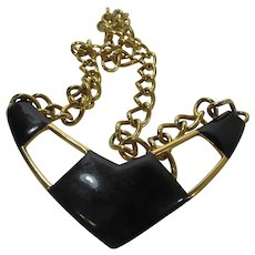 Vintage Signed  Monet Statement Necklace in Black and Goldtone