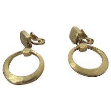Vintage Monet Brushed Goldtone Clip On Hoop Earrings