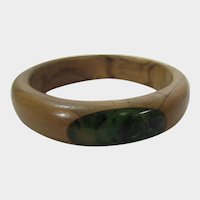 Wooden Bangle with Marbled Bakelite Inserts