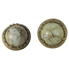 Hobe Signed Clip On Earrings In Goldtone Hues with Faux Gold Bearing Quartz Center Stone