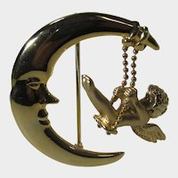 Man in the Moon with Swinging Cherub Pin in Goldtone