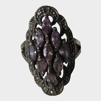 Sterling Silver Ring With Purple Crystals