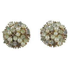 Francois by Coro Clip On Earrings in Goldtone With Crystals and Faux Pearls