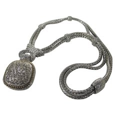 Statement Silver Tone Necklace With CZ Pendant and Magnetic Clasp