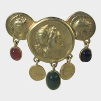 Goldtone Pin Of Faux Roman Coins and Red, Green and Blue Faux Cabochons