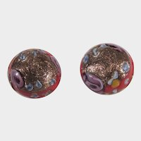 Vintage Murano Glass Clip On Earrings Highly Decorated on a Red Base