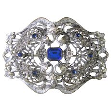 Vintage 1930's Silver Tone Filagree Pin With Blue Crystal Accents