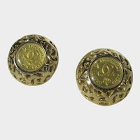Chanel by Rubecanel of Paris Clip On Goldtone Earrings