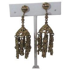 Vintage Goldtone Tassel Clip On Earrings