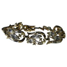 Trifari Vintage Goldtone Bracelet With Baguette and Marquis Crystals