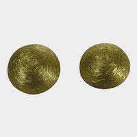 Vintage Napier Brushed  Goldtone Clip On Earrings
