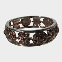 Sterling Silver Ring In Rose and Yellow Gold Wash of Alternating Flowers