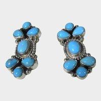 Kathleen Chavez Navajo Sterling Silver Sleeping Beauty Turquoise Earrings for Pierced Ears