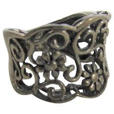 Sterling Silver Open Weave Band in Floral Design