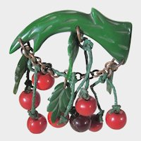 Bakelite Pin of Cherries on a Branch with Lucite Leaves