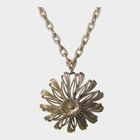 Monet Goldtone Necklace with Large Floral Pendant