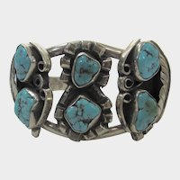 Sterling Silver Native American Signed Bracelet With Six Turquoise Stones