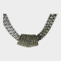 Bold Statement Silver Tone Necklace With Magnetic Clasp