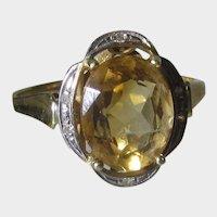 14 Karat Yellow Gold  Citrine Ring With Diamond Chip Accent