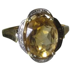 14 Karat Yellow Gold  Citrine Ring With Diamond Chip Accent