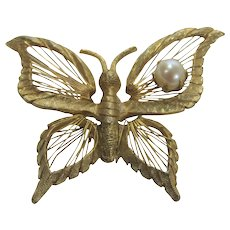 Vintage Natasha Brooks Goldtone Butterfly Pin With Cultured Pearl