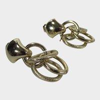 Coro Early Signed Goldtone Clip On Dangling Earrings