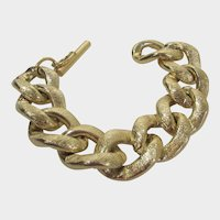 Brushed Goldtone Puffy Link Bracelet
