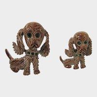 Vintage Pair of Green Eyed Cocker Spaniel Enamelled Pins by Gerry