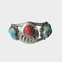 Sterling Silver Bear Claw Bracelet With Turquoise Nuggets and Polished Coral Cabochon