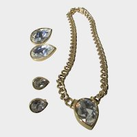 Swarovski Signed Crystal Necklace With Two Matching Earring Sizes