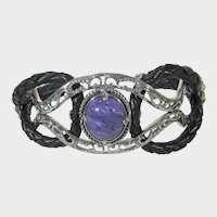 Carolyn Pollack Relios Sterling Silver Leather Cuff With Banded Agate