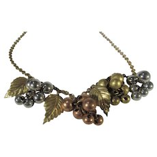 Vintage Multi Tone Grape Theme Necklace