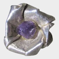 Sterling Silver Amethyst Danish Modern Floral Ring