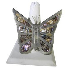 Sterling Silver Butterfly Pendant With Abalone Inlaid Wings