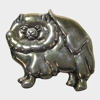 Sterling Silver Signed Pomeranian Pin