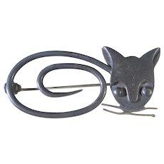 Sterling Silver Taxco Delfino Modernist Cat Pin