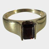 14 Karat Yellow Gold Modernist Garnet Ring